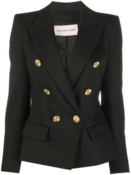 Черный классический пиджак двубортный с карманами Alexandre Vauthier