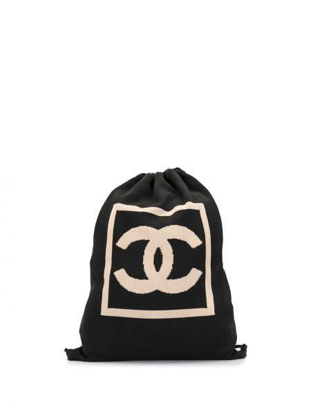 Черная спортивная сумка с низкой посадкой на шнурках на бретелях Chanel Pre-owned