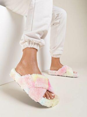 Kapcie materiałowe - różowe Renee