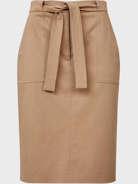 Коричневая юбка с поясом на молнии Cappellini