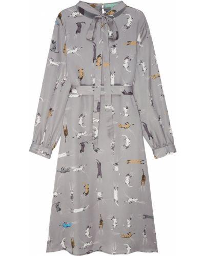 Платье миди с принтом - серое Akhmadullina Dreams