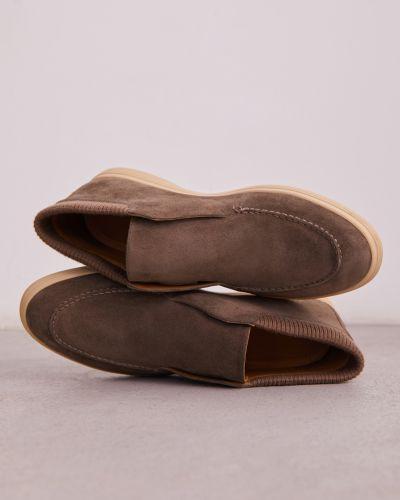 Серые кожаные полуботинки с подкладкой 12storeez