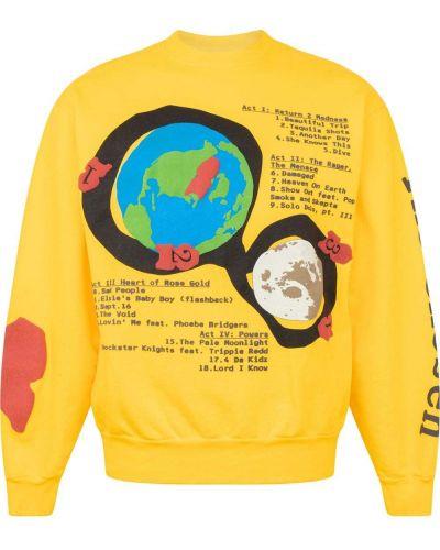 Żółta bluza dresowa bawełniana z printem Kid Cudi
