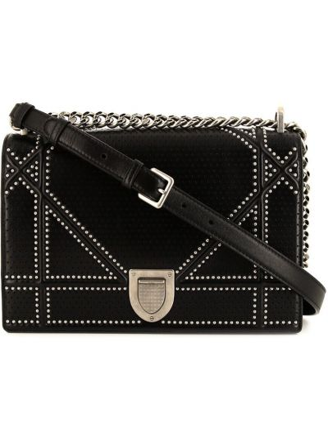 Черная сумка на плечо винтажная с заклепками Christian Dior