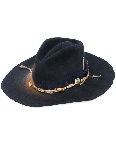 Синяя шляпа с широкими полями свободного кроя Nick Fouquet