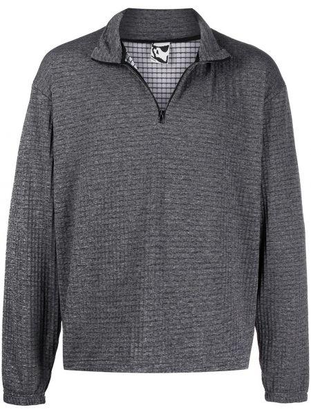 Szary długi sweter z długimi rękawami Gr10k