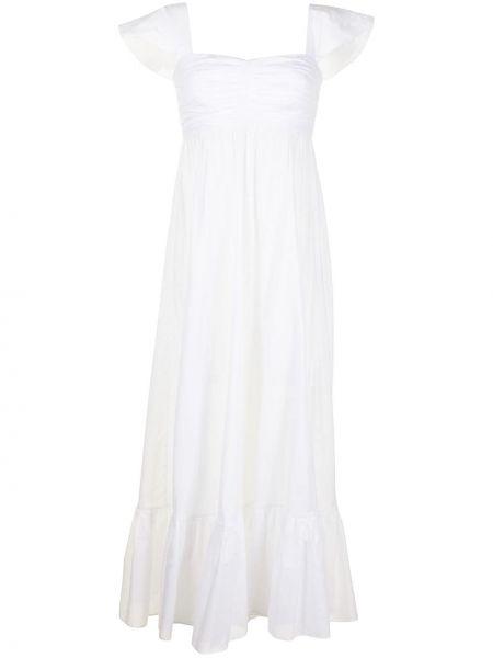 Расклешенное белое платье миди с короткими рукавами Bambah