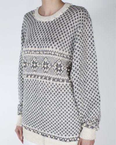 Серый шерстяной свитер с жемчугом A La Russe