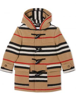 Шерстяной пальто классическое с капюшоном в полоску Burberry Kids