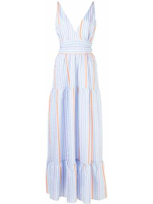 Приталенное платье макси с V-образным вырезом на молнии без рукавов Lemlem