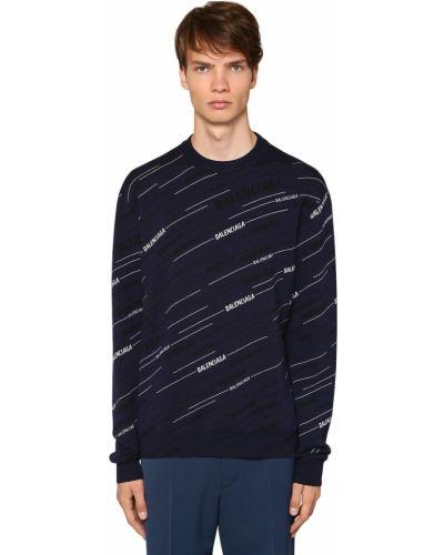 Prążkowany ażurowy sweter wełniany Balenciaga