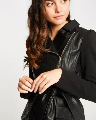 Кожаная куртка осенняя черная Morgan