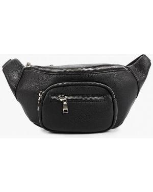Кожаная сумка поясная черная Vitacci