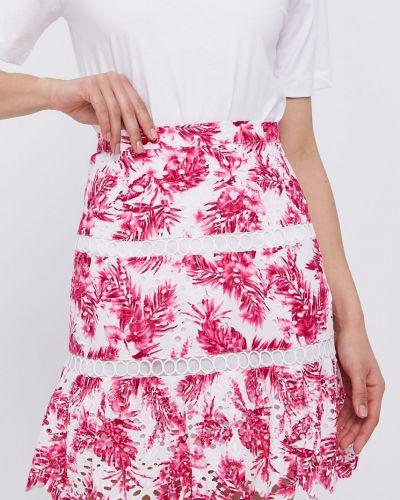 Różowa spódnica mini rozkloszowana w kwiaty Guess