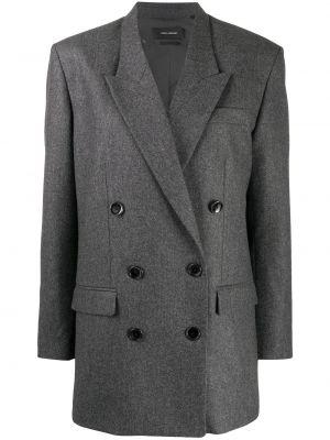 Шерстяная серая длинная куртка двубортная Isabel Marant