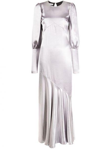 Серебряное приталенное платье с длинными рукавами с вырезом Philosophy Di Lorenzo Serafini