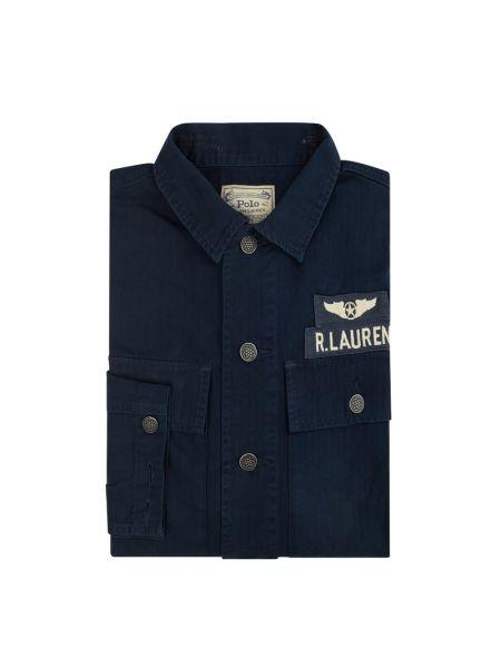 Niebieski koszula z kieszeniami z mankietami z paskami Polo Ralph Lauren