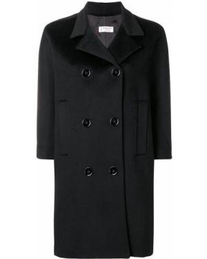 Шерстяное черное пальто Alberto Biani