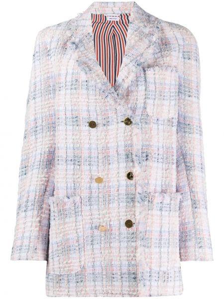 Розовый классический пиджак твидовый с карманами на пуговицах Thom Browne
