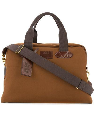 Коричневая парусиновая дорожная сумка на молнии с декоративной отделкой Kent & Curwen