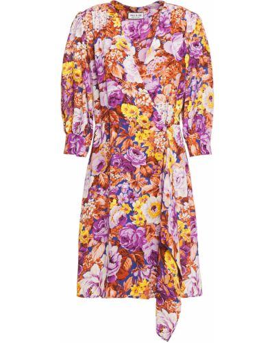 Фиолетовое платье мини на пуговицах с драпировкой Paul & Joe
