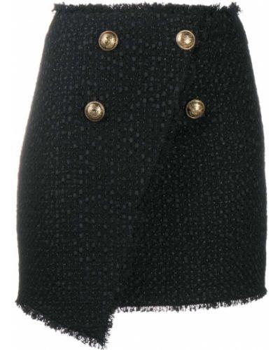 Черная с завышенной талией юбка мини на пуговицах Balmain