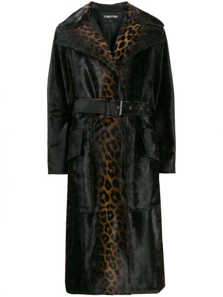 Коричневое шерстяное пальто с воротником Tom Ford