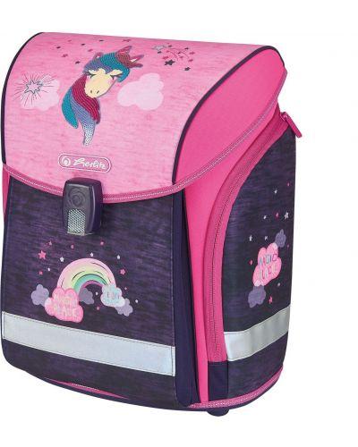 Розовый школьный ранец с карманами Herlitz