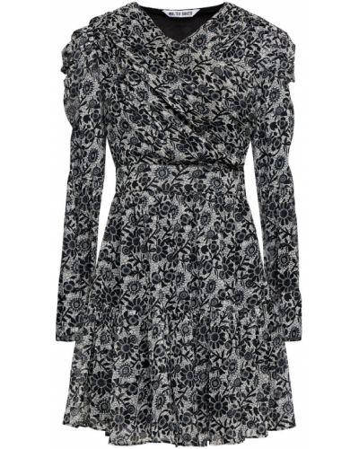 Czarna sukienka midi kopertowa zapinane na guziki Walter Baker