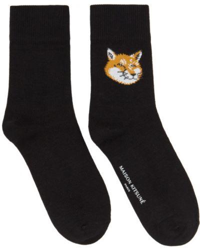 Белые носки высокие стрейч жаккардовые с манжетами Maison Kitsuné