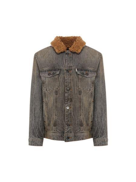 Серая классическая джинсовая куртка с пайетками с подкладкой Filles A Papa