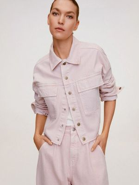 Джинсовая куртка весенняя розовая Mango