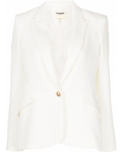 Однобортный белый удлиненный пиджак на пуговицах L'agence