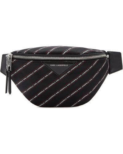 Кожаная сумка поясная в полоску Karl Lagerfeld