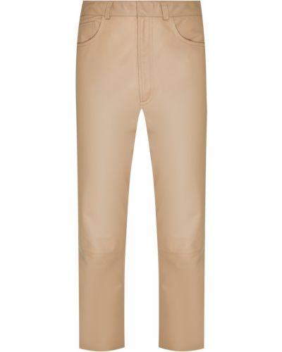 Кожаные бежевые брюки с карманами Izeta