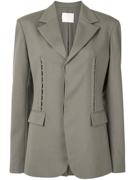 Хлопковый серый удлиненный пиджак на пуговицах Dion Lee