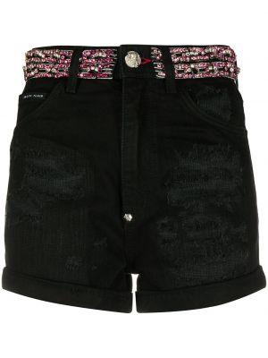Черные джинсовые шорты со стразами с карманами на пуговицах Philipp Plein
