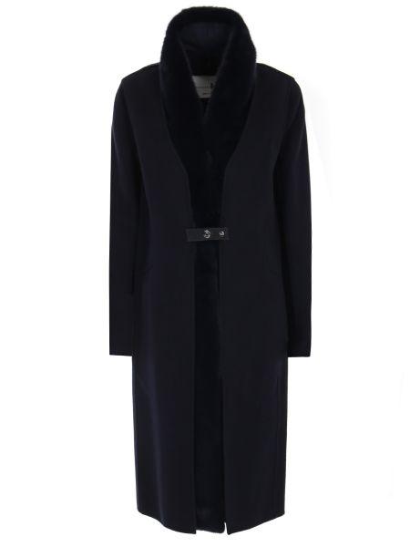 Свободное синее шерстяное пальто классическое с воротником Manzoni 24