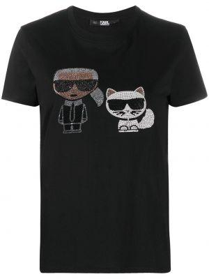 Прямая черная футболка со стразами с круглым вырезом Karl Lagerfeld