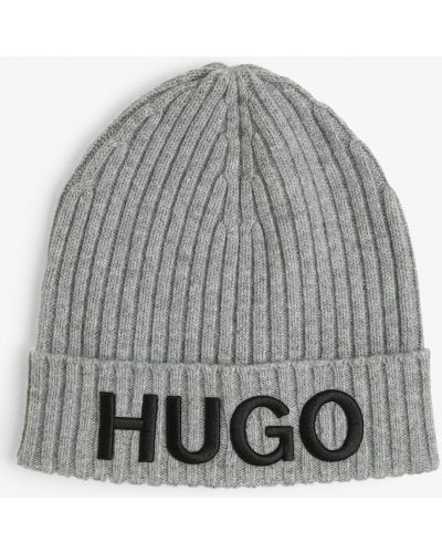 Prążkowana szara czapka Hugo