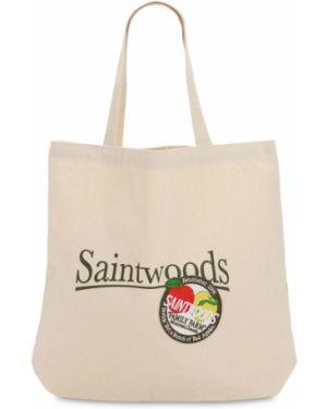 Beżowa torba na ramię bawełniana Saintwoods