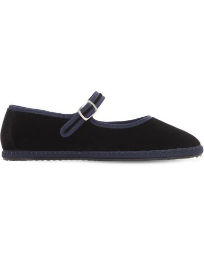 Czarne loafers z klamrą z aksamitu Vibi Venezia