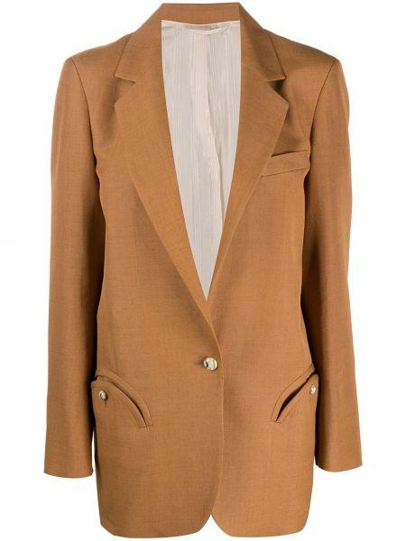 Коричневая классическая прямая куртка на пуговицах Blazé Milano