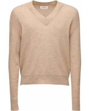 Prążkowany beżowy sweter wełniany Rochas
