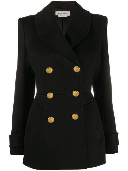 Черный классический пиджак двубортный с карманами Alexander Mcqueen