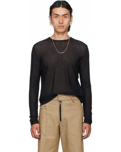 Czarny sweter z wiskozy z długimi rękawami Vejas