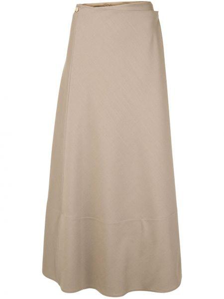 Шерстяная коричневая юбка с запахом на пуговицах The Row