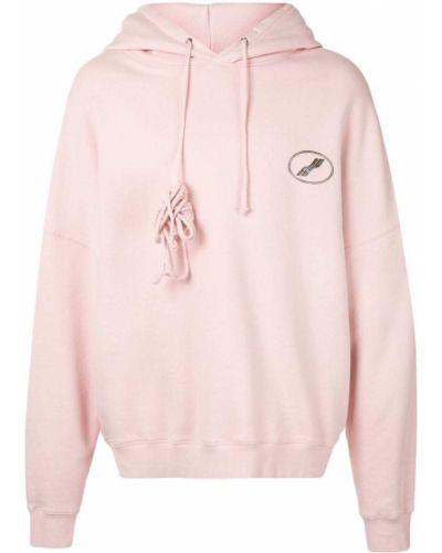 Хлопковая розовая толстовка с капюшоном в рубчик We11done