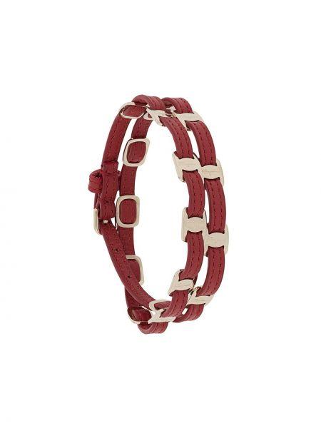 С ремешком красный кожаный браслет с пряжкой из натуральной кожи Salvatore Ferragamo