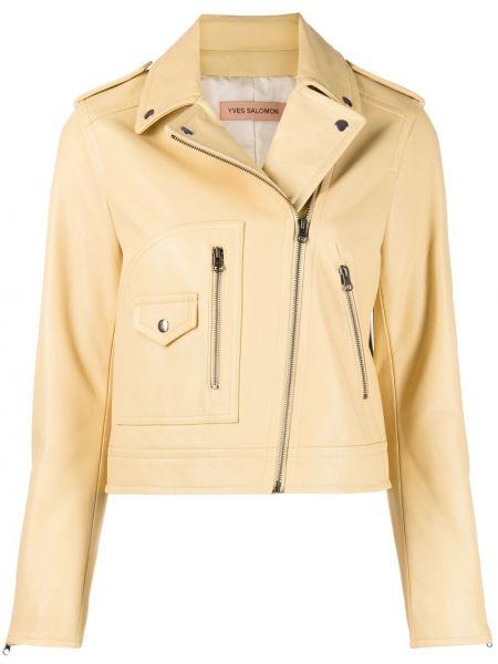 Желтая кожаная короткая куртка на молнии Yves Salomon